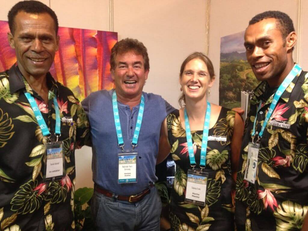 German (Australia Tours) at the Fijian Tourism Expo reunited with guides from his recent trek