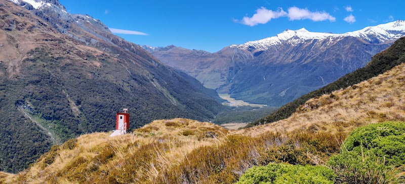 Toilet with a view, Liverpool Hut, Mt Aspiring Park, NZ